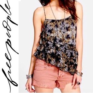 Free People Fluttered Tiered Boho Ruffle Tank Top
